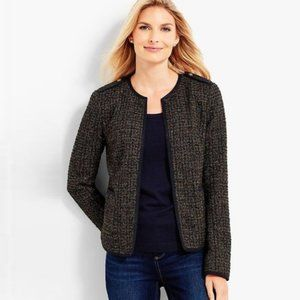 Talbots Olive Multi Sparkle Tweed Boucle Jacket